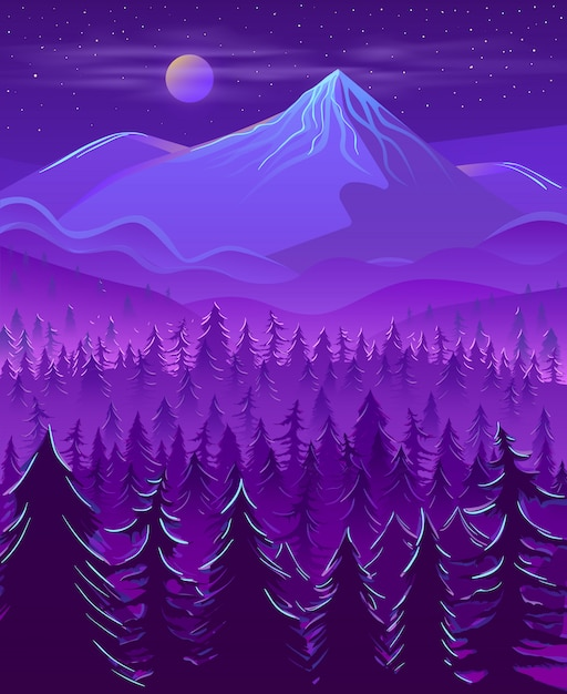 Wild northern land night landscape cartoon Free Vector