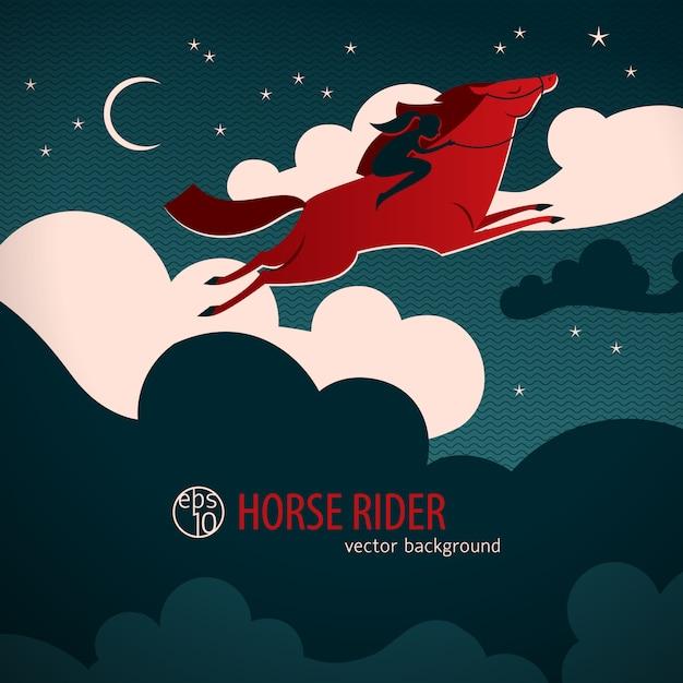馬と野生の赤い馬ポスターはライダーと夜空を横切る 無料ベクター
