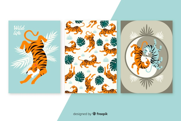 Wild tiger card collection flat design Free Vector