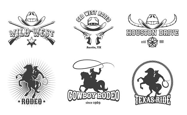 ワイルドウェストとロデオのレーベル。カウボーイテキサス、スタンプと帽子、アメリカのレトロなデザイン。 無料ベクター