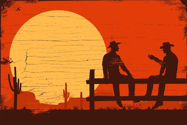 Wild west background, silhouette of cowboys sitting on fence Premium Vector