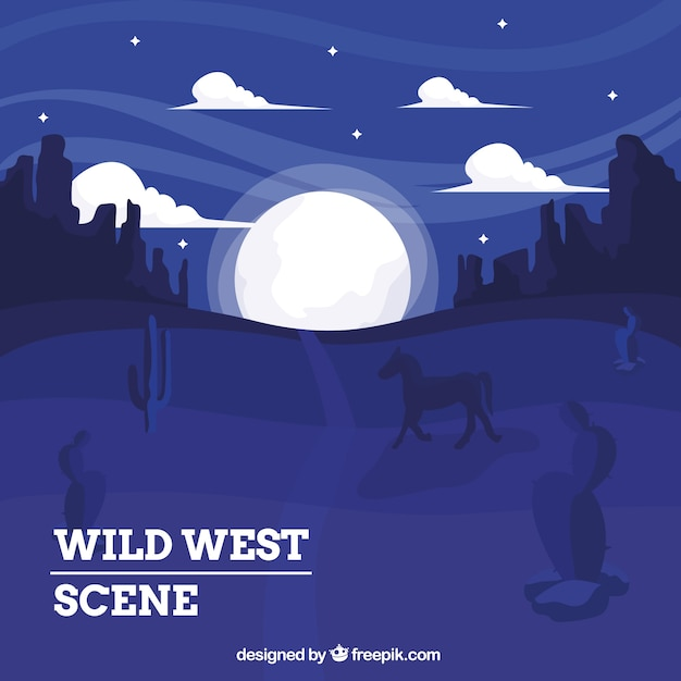 Wild west background with horse at night