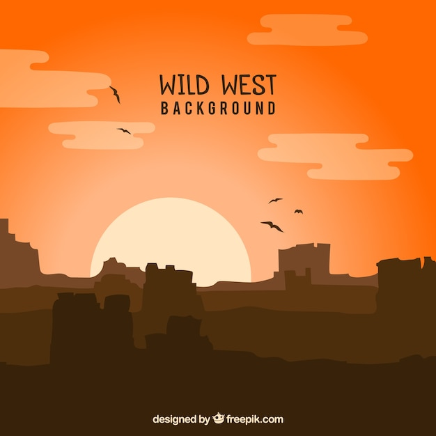 Wild west background with mountains and\ birds
