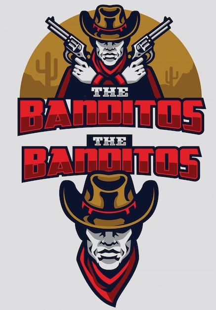 Wild west bandit mascot Premium Vector