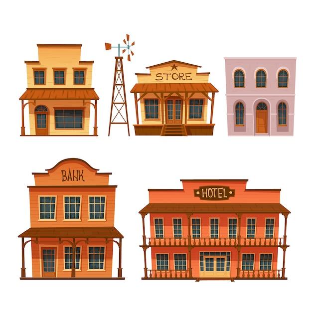 野生の西の建物セット、カウボーイスタイルのデザイン。 無料ベクター