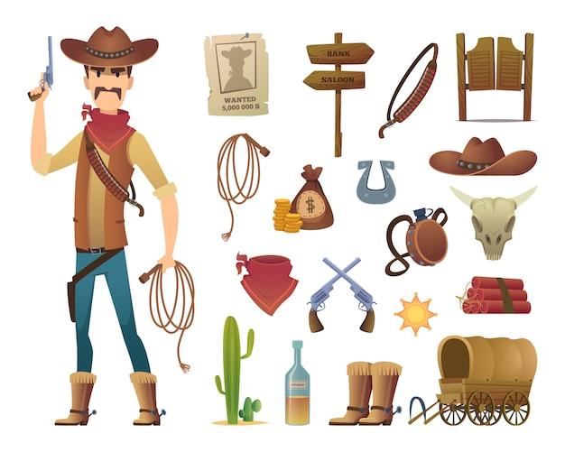 Premium Vector Wild West Cartoon Saloon Cowboy Western Lasso Symbols Pictures Isolated