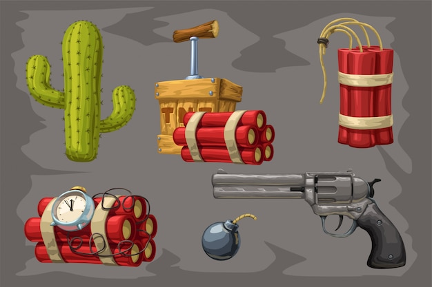 Wild west collection on grey Premium Vector