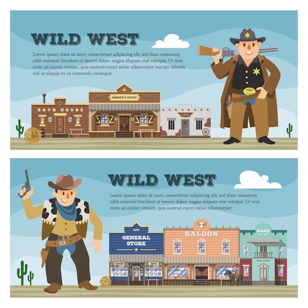 町の背景に建設と国の風景の野生の西カウボーイキャラクターサルーン西部建物家通り田舎イラストの背景 Premiumベクター