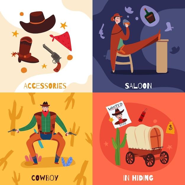 Il concetto di design del cowboy del selvaggio west con composizioni di testo icone piane e immagini di illustrazione vettoriale roba vintage Vettore gratuito