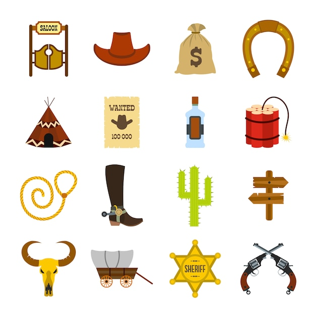 Wild west cowboy flat elements set for web and mobile devices Premium Vector