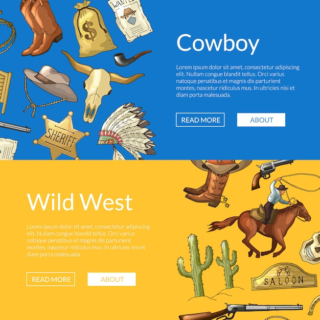 Wild west cowboy web banners with horses, cacti and cow skull Premium Vector