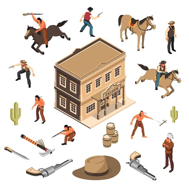 野生の西のカウボーイと武器保安官建物サルーン等尺性セット分離とネイティブアメリカン 無料ベクター