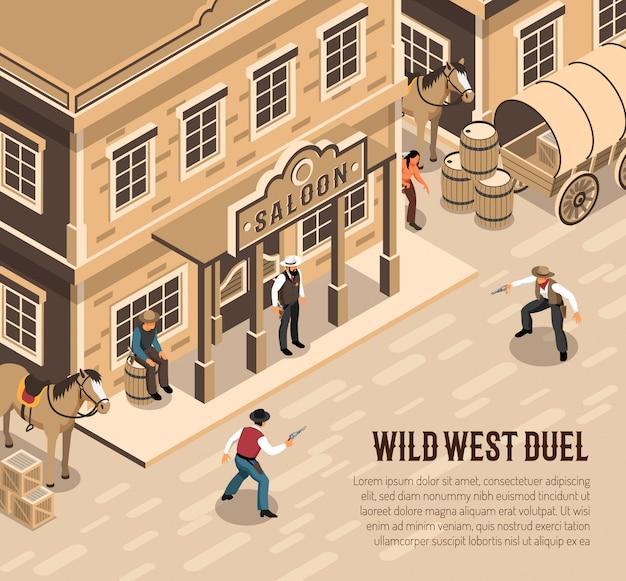 Cowboy del selvaggio west con le pistole durante lo sceriffo di duello vicino all'entrata del salone isometrica Vettore gratuito