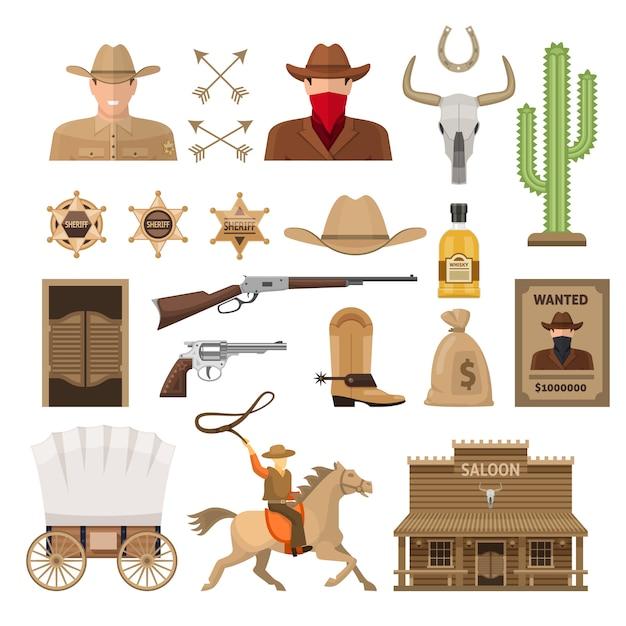 Wild west decorative elements set Premium Vector