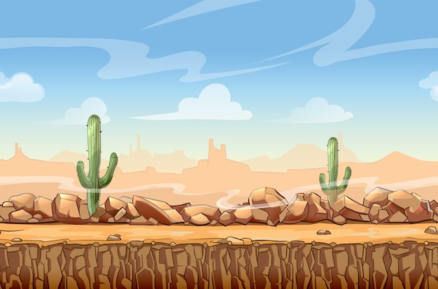 Wild west desert landscape cartoon seamless scene for game. cactus and nature, interface vector illustration Free Vector