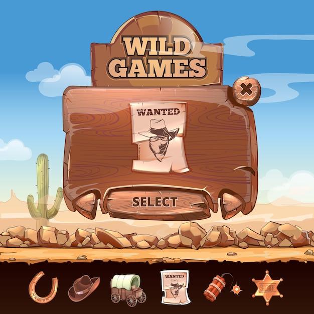 Interfaccia utente del paesaggio del deserto del selvaggio west in stile cartone animato. distintivo e ricercato, targa e ferro di cavallo, stella e dinamite Vettore gratuito