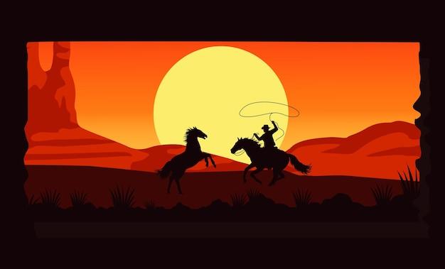 Дикий запад пустынный закат с ковбоем и лошадьми Premium векторы
