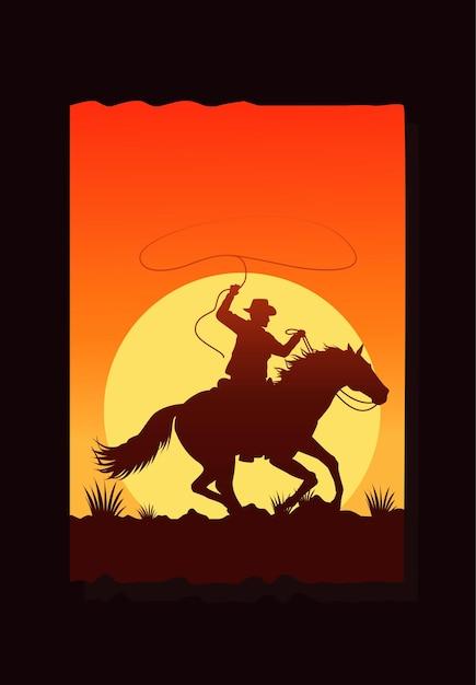 Дикий запад пустынный закат сцена с ковбоем на лошади Premium векторы