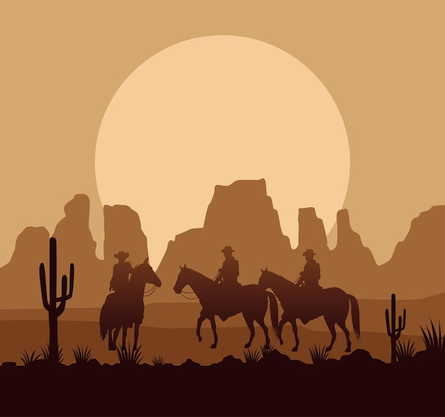 Wild west desertic sunset scene with cowboys and horses Premium Vector