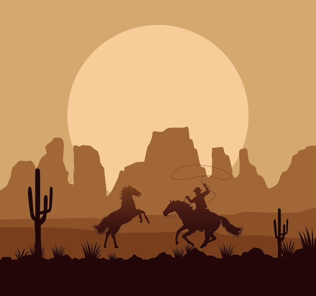 Wild west desertic sunset scene with horses and cowboy Premium Vector