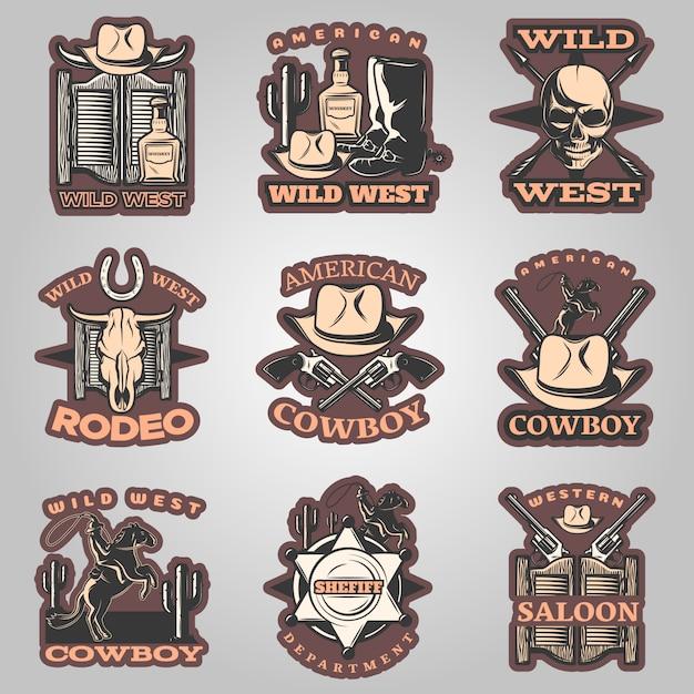 Emblema del selvaggio west impostato a colori con la descrizione del cowboy americano e del rodeo nel salone occidentale Vettore gratuito