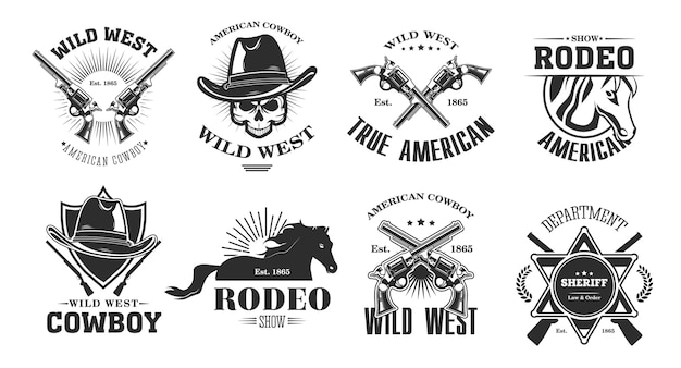 Wild west emblems set. monochrome elements with skull in cowboy hat, rodeo horse, crossed gun, sheriff badge. vintage vector illustrations collection isolated on white background Free Vector