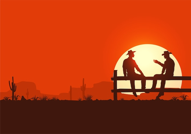 Wild west illustration, silhouette of cowboys sitting on fence Premium Vector