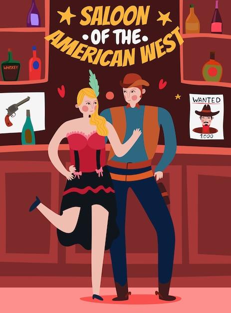 Дикий запад иллюстрация с танцором и ковбой Бесплатные векторы