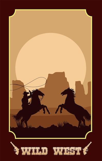 Дикий запад надписи на плакате с ковбоем в лошадях, лассо Premium векторы