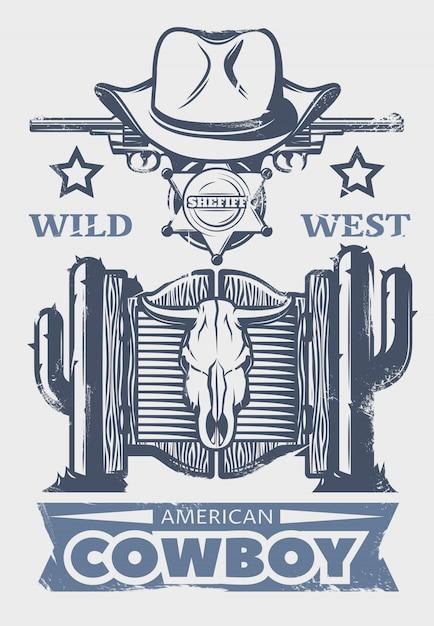 미국 카우보이 헤드 라인 및 카우보이 속성 및 요소가 포함 된 와일드 웨스트 프린트 또는 포스터 무료 벡터