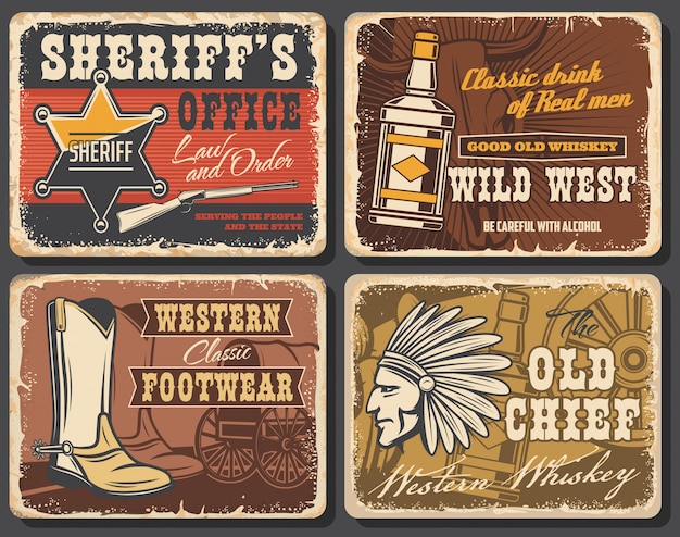 Wild west retro posters, western  cards set Premium Vector