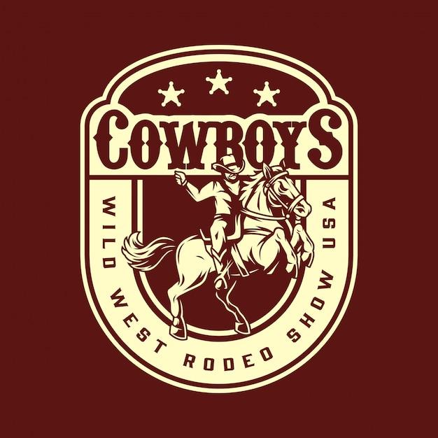 Wild west rodeo show vintage badge Premium Vector