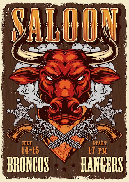 Wild west saloon advertising poster template | Free Vector