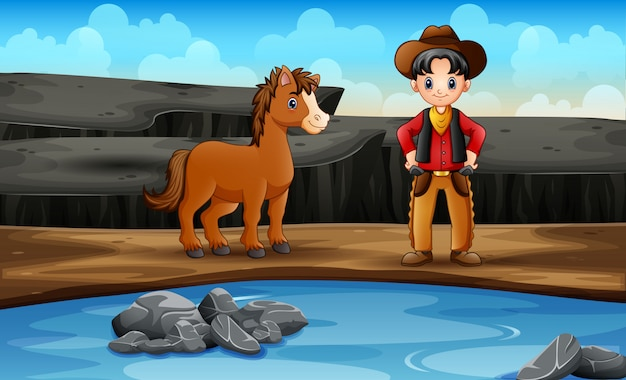 Wild west scene with cowboy and his horse Premium Vector