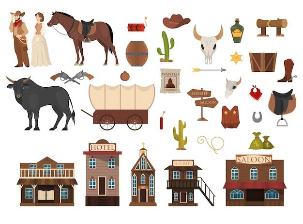 ワイルドウェストセット。カウボーイ、サボテン、馬、牛。サルーン Premiumベクター