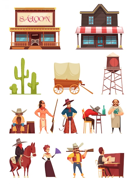 Wild west set with buildings and human characters Free Vector