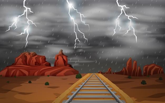 The wild west storm scene Free Vector