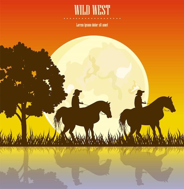 Wild west sunset illustration Premium Vector