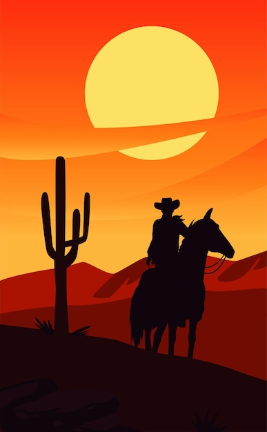 Wild west sunset scene with cowboy in horse and cactus Premium Vector