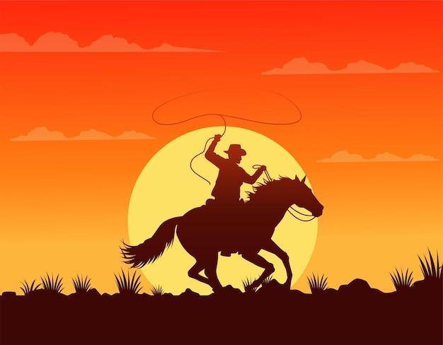 Сцена заката на диком западе с ковбоем в беге на лошади Premium векторы