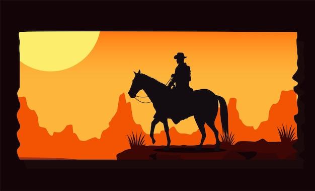 Сцена заката на диком западе с ковбоем на лошади Premium векторы