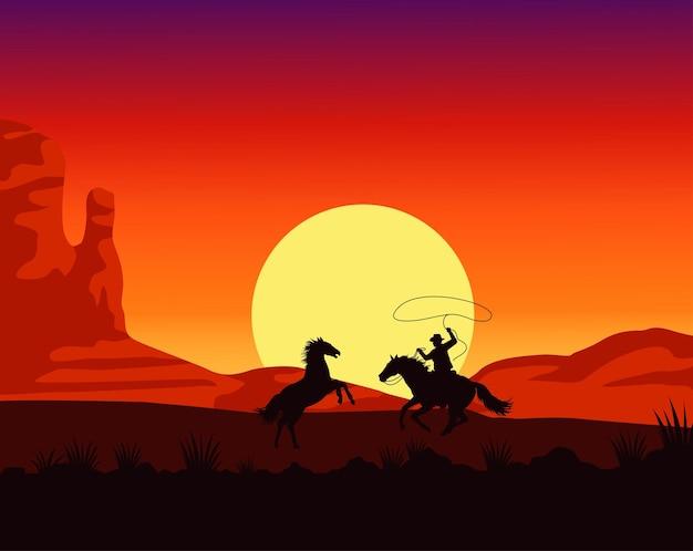 Сцена заката на диком западе с ковбойским лассо на лошади Premium векторы