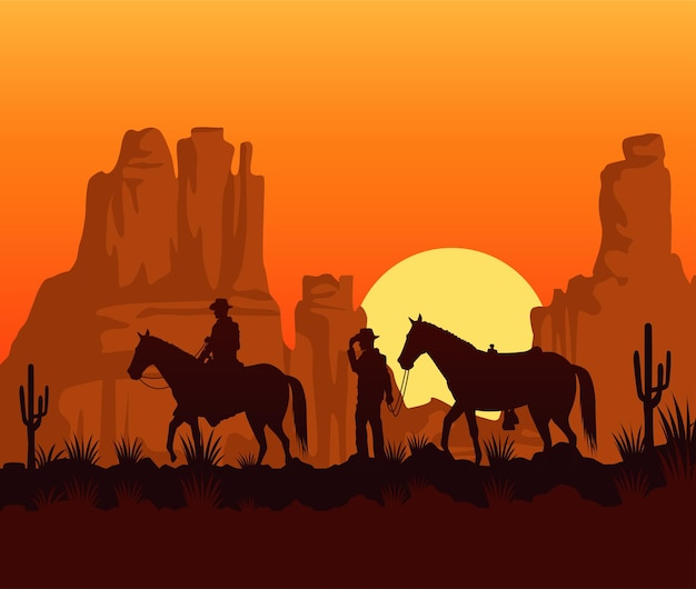 Wild west sunset scene with cowboys and horses Premium Vector