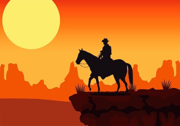 Сцена заката на диком западе с лошадью и ковбоем в пустыне Premium векторы