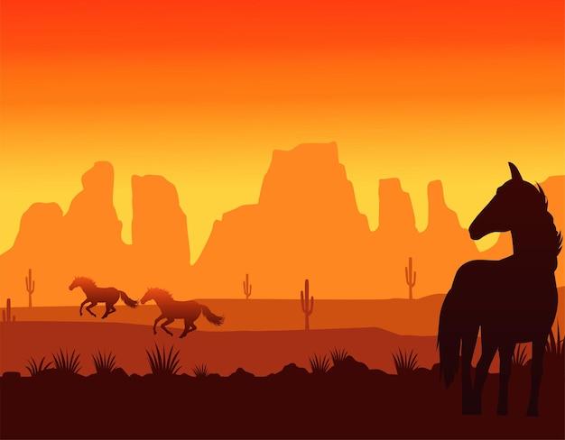 Сцена заката дикого запада с бегущими лошадьми Premium векторы