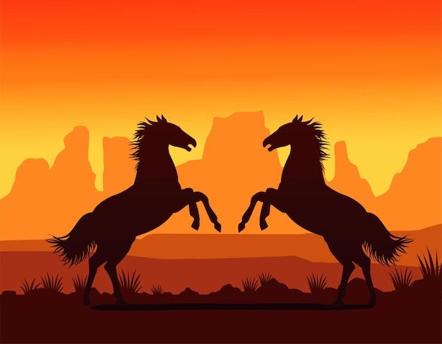 Сцена заката на диком западе с лошадьми Premium векторы