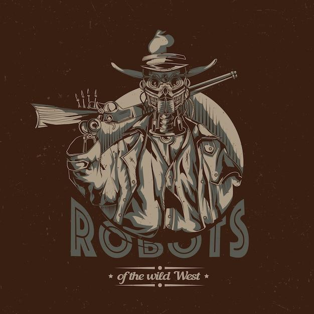 Design etichetta t-shirt wild west con illustrazione del cowboy robot Vettore gratuito