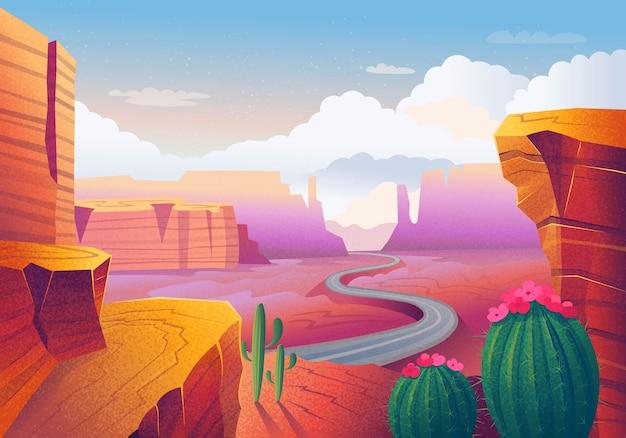 ワイルドウエストテキサス。赤い山、サボテン、道路、雲のある風景します。イラスト。 Premiumベクター