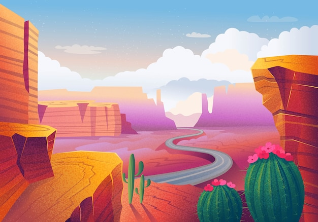 Wild west texas. landscape with red mountains, cactus, road and clouds.  illustration . Premium Vector