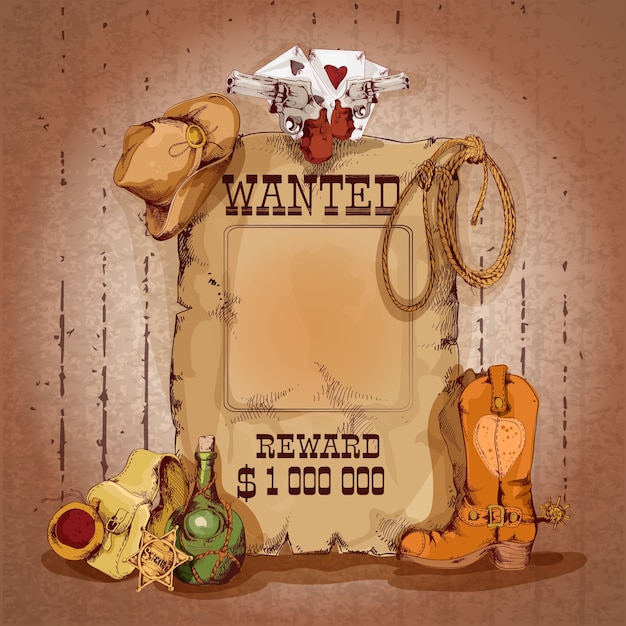 Wild west wanted man for reward poster with cowboy elements vector illustration Free Vector